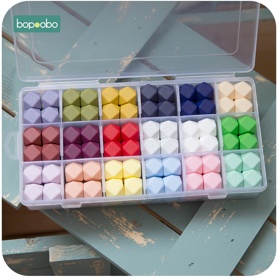Bopoobo 5Pc 14mm Silicone Hexagon Beads Silicone Baby Teether 17mm Silicone Beads For Necklace Safe Toys Silicone Tiny Rod