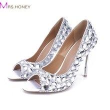 Sexy Peep Toe Pumps Kristall dünne High Heels Frauen Mode angepasst Hochzeit Schuhe Homecoming Kleid Schuhe Brautabschlußball-Pumpe