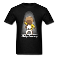 Mens Teddy Mercury T Shirt Red Rock Music Customized T Shirt With Teddy Bear For Man