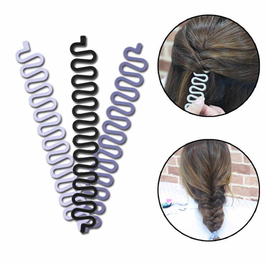 3 unids pelo Utensilios para el pelo weave Braid hair braider herramienta hair styling giro mágico Bun Roller de cabello Accesorios belleza Herramientas