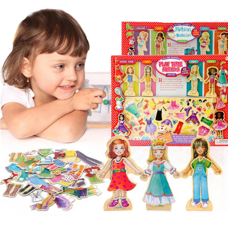 63pcs Magnetic Wood Toy Girls Changing Clothes Montessori ...