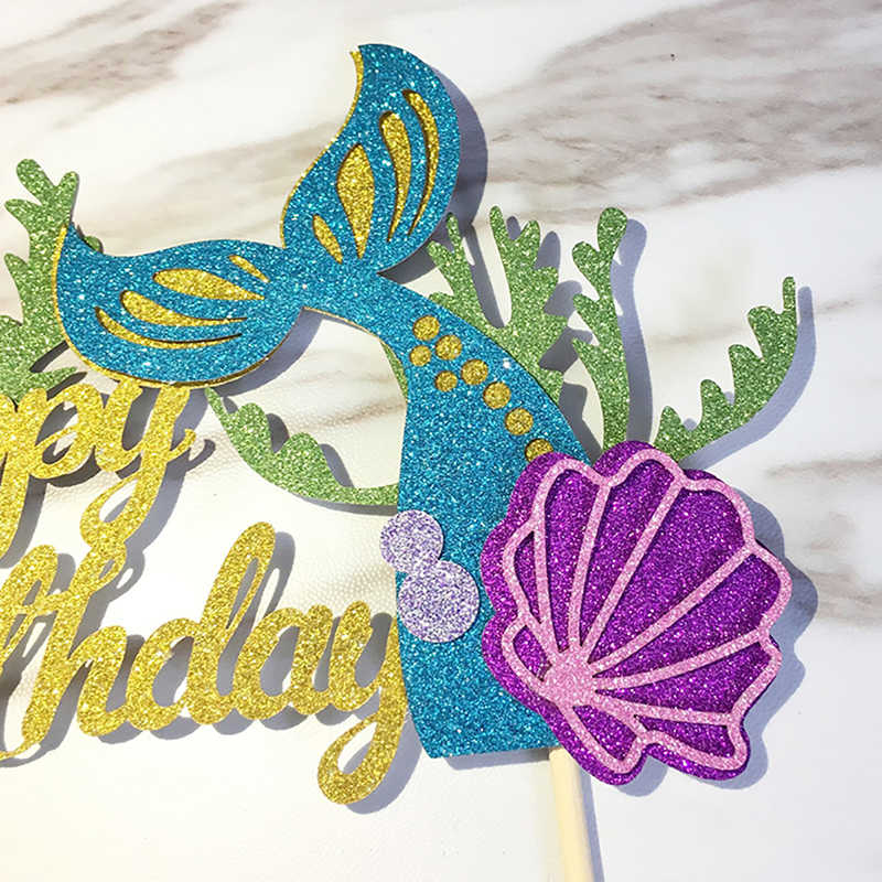 Decoración De Pastel De Cola De Sirena Verde Rosa Decoración De Postre Para Fiesta De Cumpleaños Regalos Encantadores