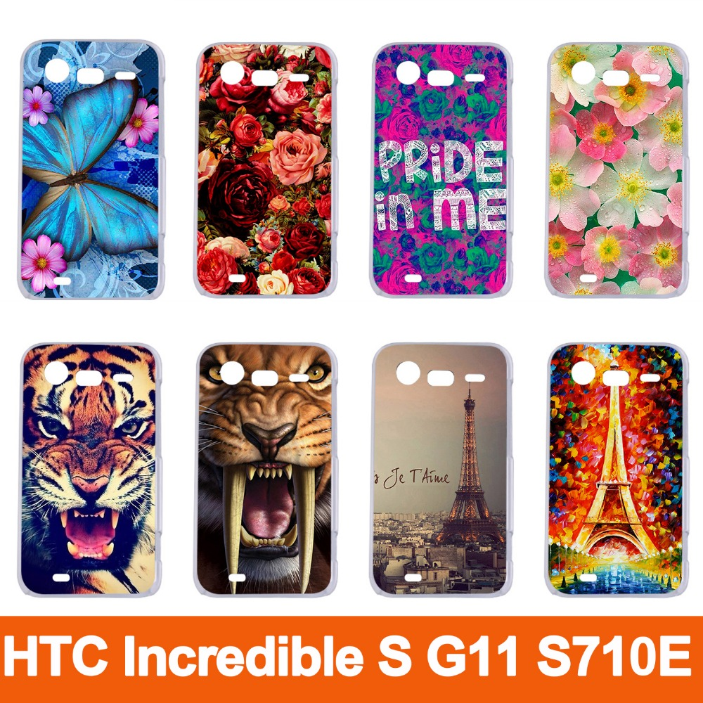 Online coloring mobile - 14 Patterns Colored Animals Beautiful Flowers Eiffel Towers Mobile Phone Case Skin Shell Hood For Htc Incredible S G11 S710e