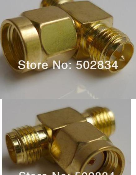 2pcs lot Free Shipping RP-SMA male to two RP-SMA female T RF adapter connector 3 way