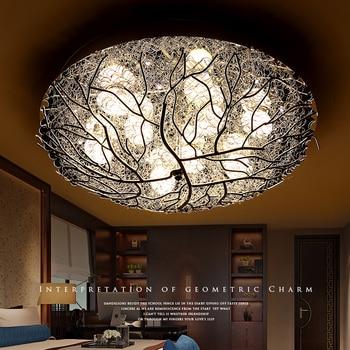 Schlafzimmer lampen romantische warme esszimmer kinder runde kristall  vogelnest modernen minimalistischen led-decken beleuchtung ZH FG769