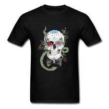 Mexico Skull T Shirt Mens Black Death Skull 3D Tee Shirts Hip Hop Metal Band Rock DJ T-Shirt Calavera Snake Tshirt Horror(China)
