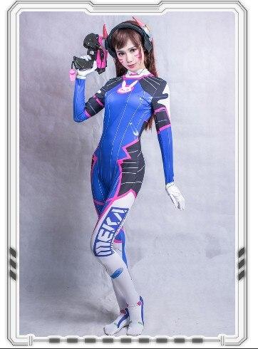 Full Set D.VA Cosplay Costume Gun Headset Armour 3D Print Classic Skin Bodysuit Halloween Cosplay DVA Zentai Kids Adult