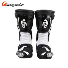 Ridng Tribe Speed Motorcycle Boots Microfiber Leather Off-road Racing Shoes Knight Long Boots Riding Boots White Red Black