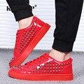 Charol moda hombres Zapatos Zapatillas Superstar Loubuten Bajo Tapa Ocasional Remaches de Los Hombres Zapatos Tamaño 39-44 Ronda Pisos Toe F13