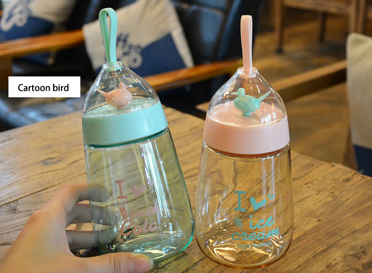 Candy Colors Water Bottle,Silicone Drinking Water For Bottle Child Animal Tumbler bottles Childrens gift,cute bird modeling pot
