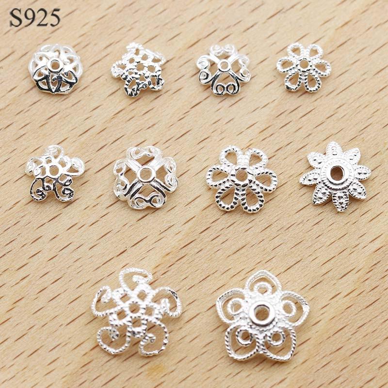 10Pcs dull silver copper flower Clasp for necklace bracelet DIY Findings