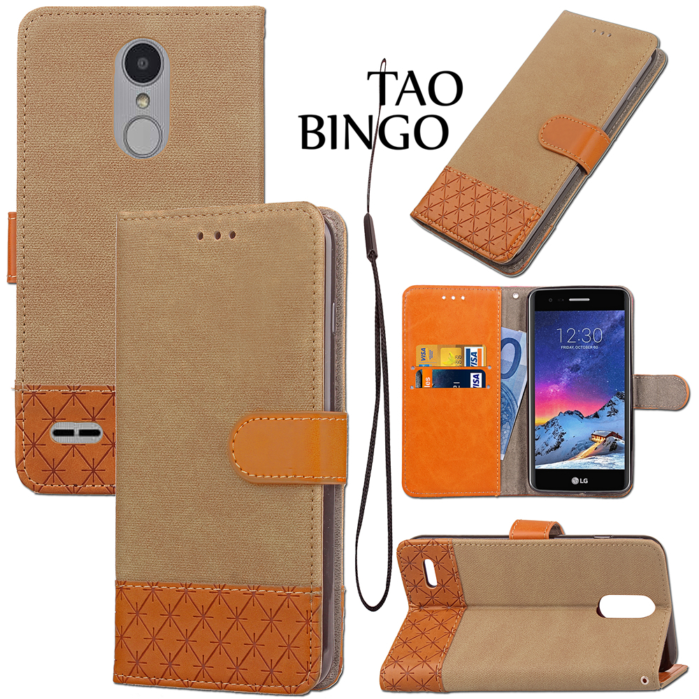 2017 Fashion Hit Color Card Slot Leather Cover For lg K10 K8 Slot Buckle Cover Stand Wallet Flip Cases For LG G3 G4 G5 G6
