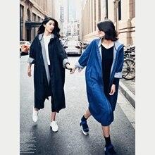 New Street Style Women Denim Trench Hooded Pure Color Female Korean Harajuku Wom