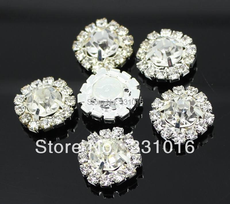 100pcs DIA 15mm Round Rhinestone Embellishment Buttons Flat Back Clear  Crystal Cluster Buckle DIY Accessories ad285db3a26b