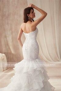 Image 5 - Querida decote design babados organza vestido de casamento sereia renda plus size vestidos de noiva vestido de festa longo de luxo