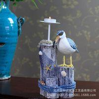 Mediterranean Sea Birds Home Furnishing Decoration Wooden Candlestick Crafts European Creative Candle Holders