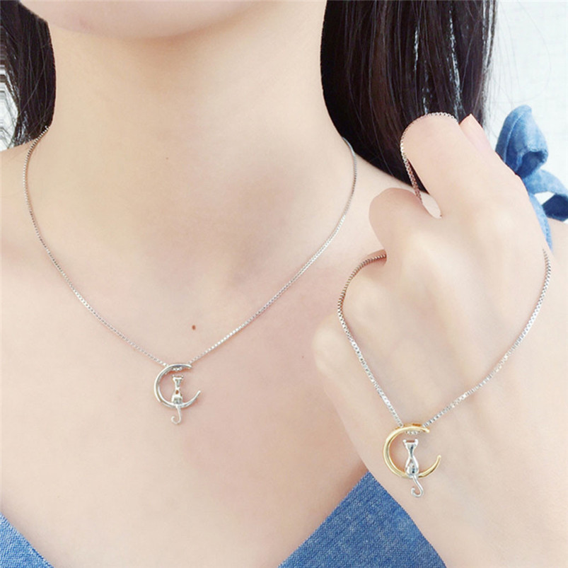 1Pc New Fashion Jewelry Silver Gold Moon Lovely Cat Necklaces Pendant Women Christmas Gifts Simple Temperament Cute Chain D10 (7)