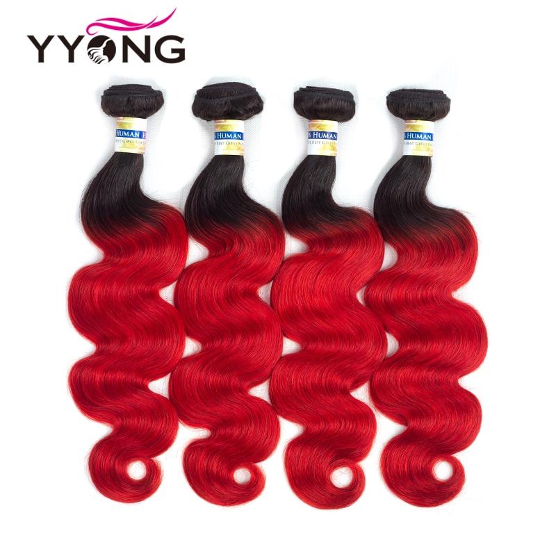 Ombre Hair Bundles Peruvian Body Wave Human Hair Weave 4 Bundles Yyong Pre Colored Black Roots