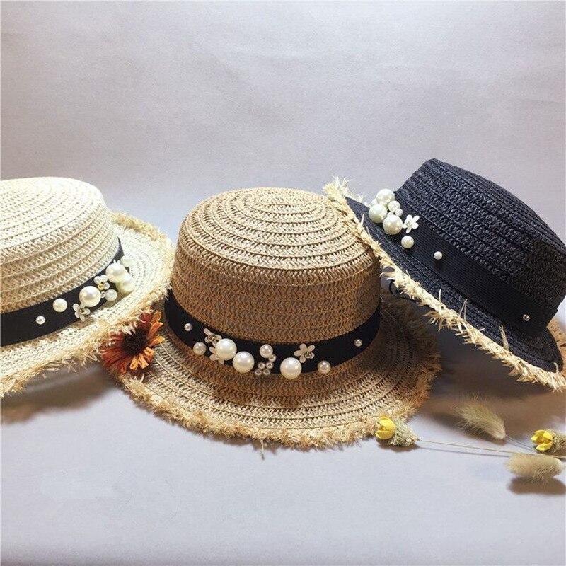 lovely Flat top straw hat Summer Spring women's trip caps leisure pearl beach sun hats black breathable fashion flower girl hat beach trip