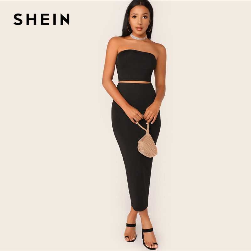 SHEIN Black Solid Tube Crop Top and Long Pencil Skirt Set Slim Fit 2 Piece Set Women Summer Stretchy Boho Skinny Two Piece Set 2