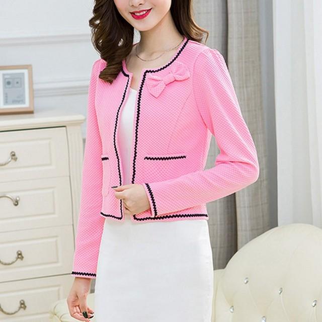 Fashion Hit Color Elegant Women Blazers Round Neck Long Sleeve Formal Jackets S-3XL Casaco Patch Bow Knot Slim Women Blazers 3