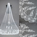 Hot Sale Wedding Veils Lace Edge Cathedral Length One Layer Tulle Bridal Veils Wedding Accessories Free Shipping Cheap