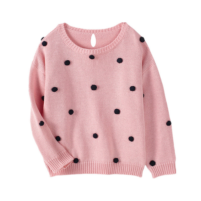 fccdde478 Baby Girls Sweaters Autumn Warm O neck Pullovers Cute Ball Newborn ...