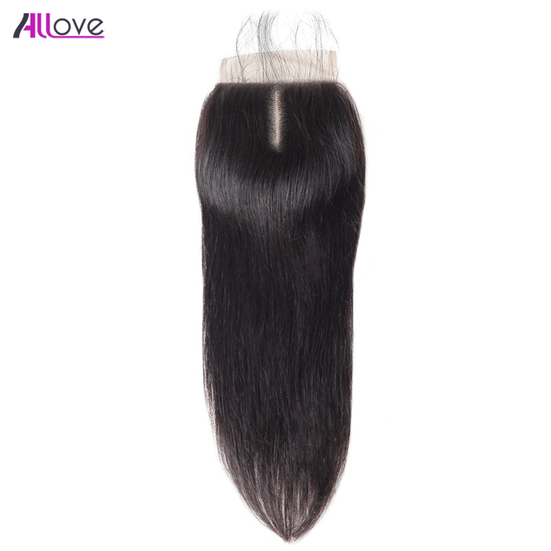 Allove Indian Straight Human Hair Closure 130% Density 4x4 Swiss Lace Closure Middle Part 8-20 Inch Remy Hair Extensions 1pc