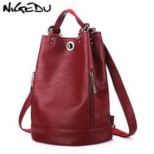 NIGEDU multifunctional backpack female shoulder bag Luxury Brand Leather women backpack schoolbag  Travel Bags bagpack Bookbag стоимость
