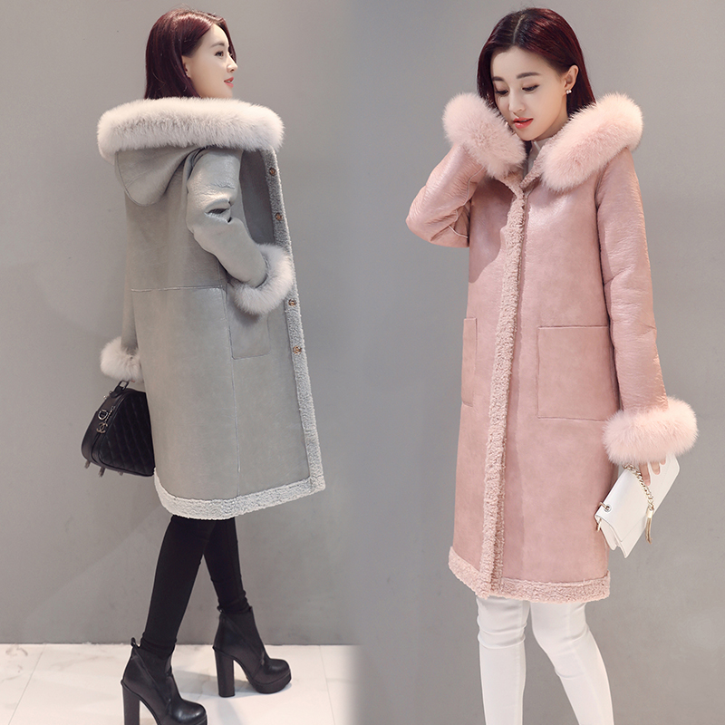 Both Sides Can Wear Coat 2016 Autumn Winter Thick Warm Fur Lamb Fur Real Fox Fur Cuffs With Hooded Loose Jacket Leather Female free shipping woman with thick warm winter leather fox fur fur fashion coat m xxl