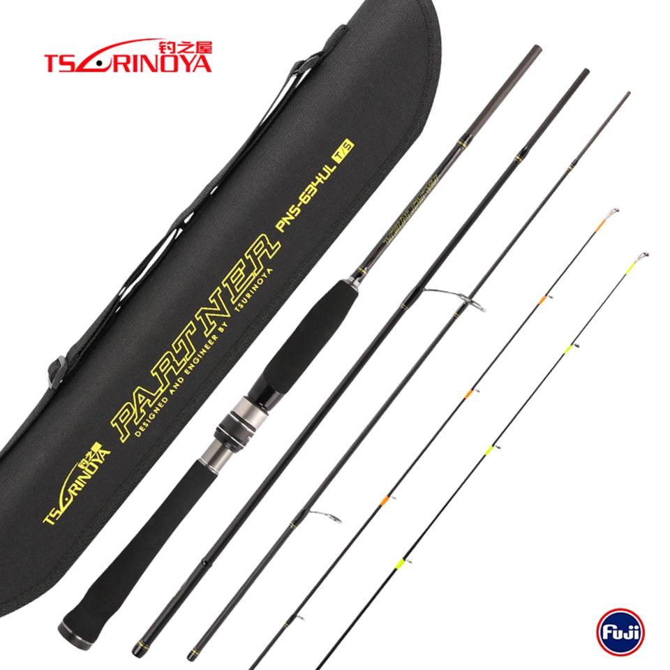 TSURINOYA PARTNER 1 89m 4 Section Spinning Rod 2 Tips Ultra Light Lure Fishing Rod Vara