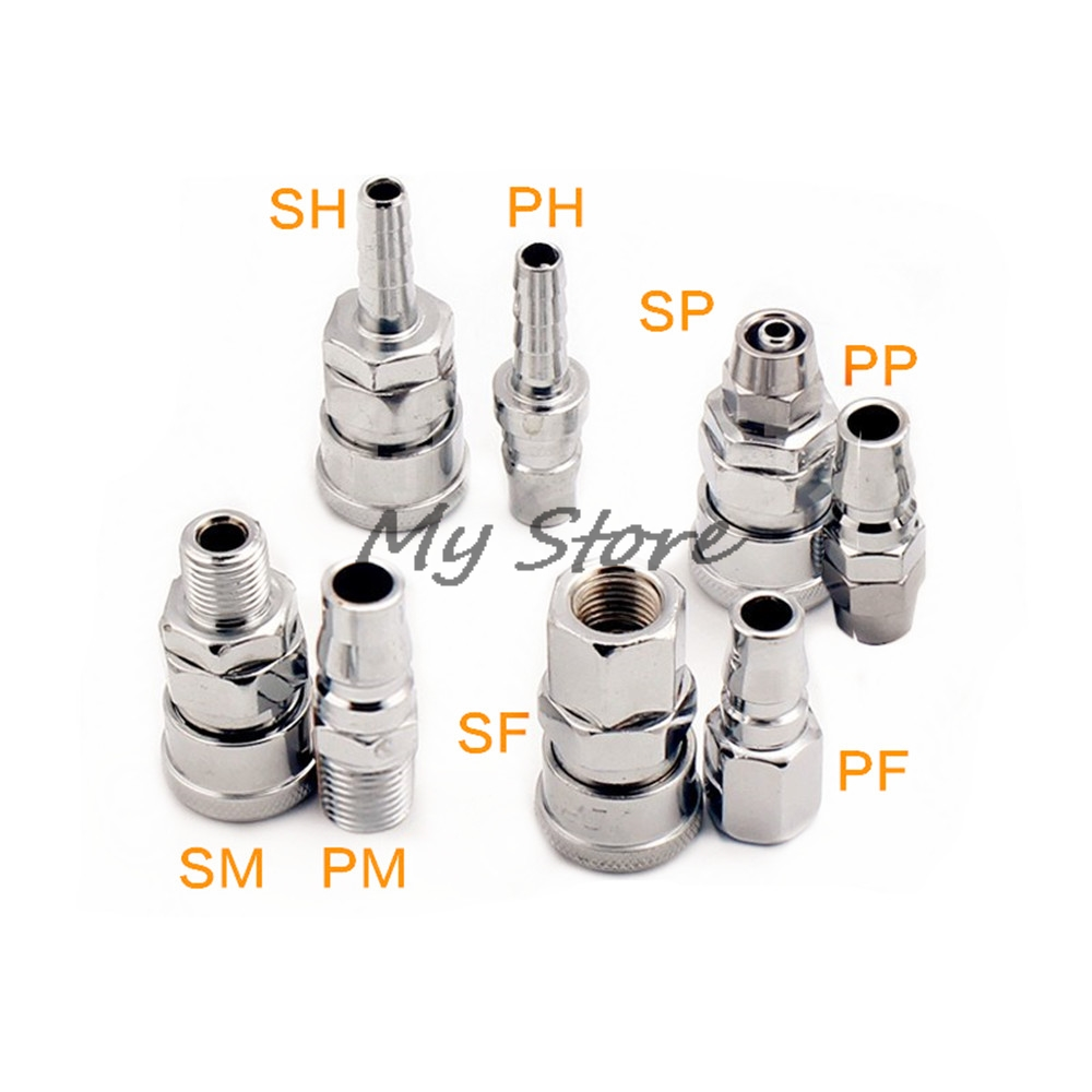 Pneumatic fittings Air Compressor Hose Quick Coupler Plug Socket Connector SP,PP,SM,PM,SH,PH,SF,PF. free shipping air compressor pneumatic quick coupler connector socket fittings set sp 30 pp 30 for 6 5mm id x 10mm od hose