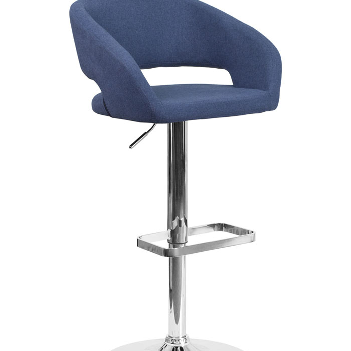 Flash Furniture Contemporary Blue Fabric Upholstery Adjustable Height Barstool with Chro ...