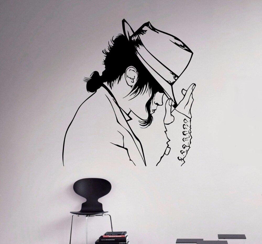 Wall Decal Michael Jackson Vinyl Sticker King Of Pop Star Art Decor Music  Home Interior Room Retro Mural Design