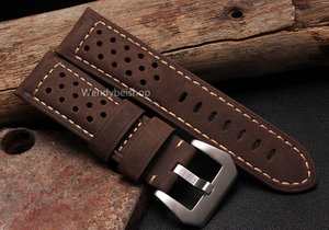 Image 4 - CARLYWET 22 24 26 мм оптовая продажа, черные коричневые настоящие кожаные старинные часы ремешок с матовой пряжкой для радиометра