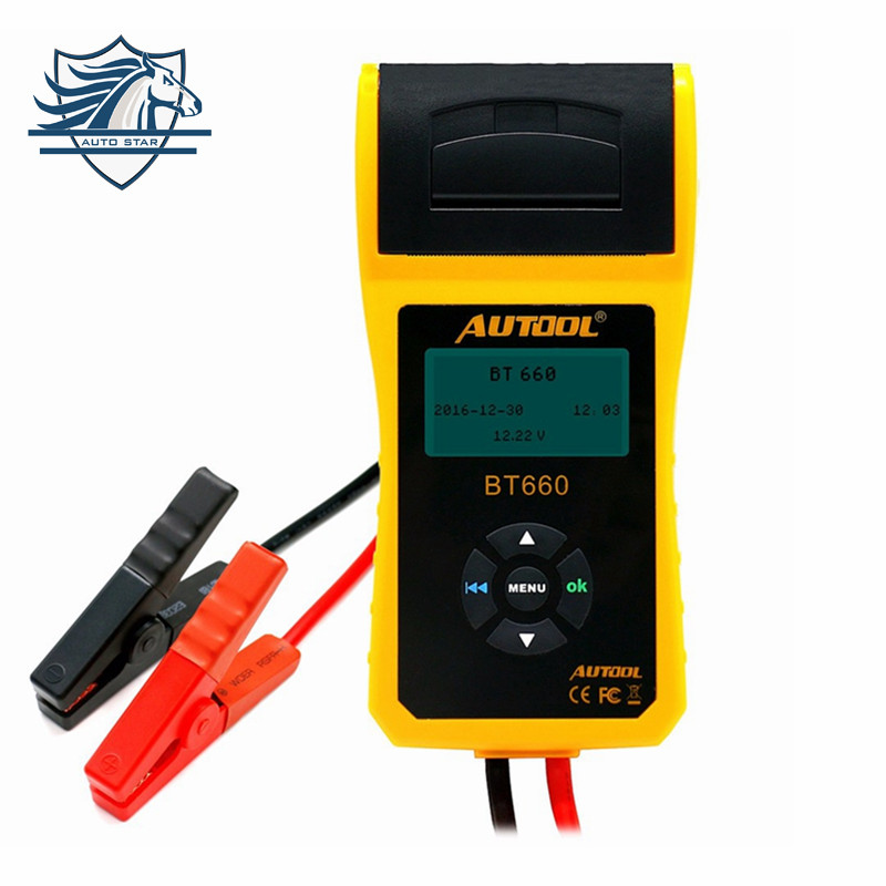 Top Selling AUTOOL 12V Car Battery Load Tester with printer BT660/Multi-language Digital automotive battery tester CCA100-3000