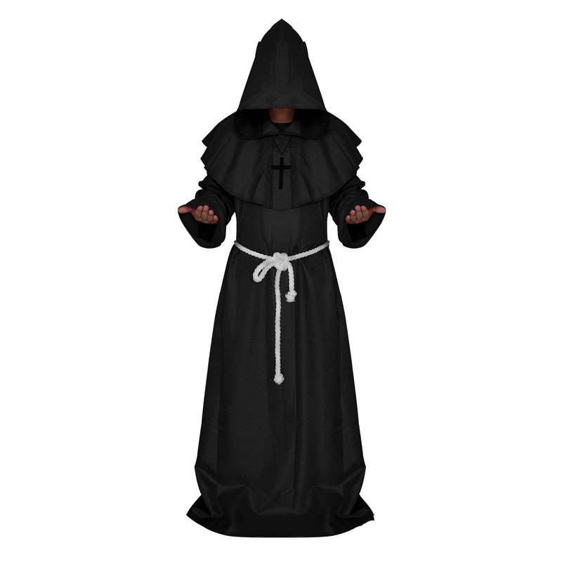 Mens Halloween Costumes Adult Gothic Wizard Fancy Cosplay Costume European Religious Priest Robe Uniform Free Shipping
