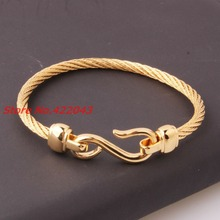 "Fashion 4mm 316L Stainless Steel Twisted Cable Wire Gold Cuff Chain Men Womens ""S"" Pattern Bracelets & Bangles Xmas Gift Jewelry"