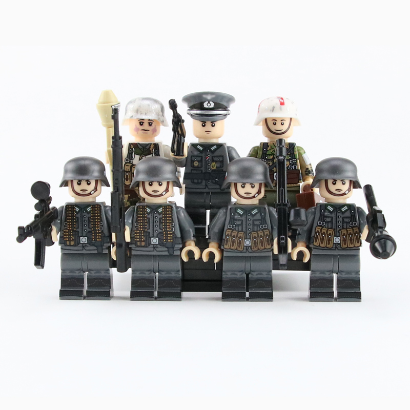 WW2 Military Army Soldier Figures Building Blocks German Medic Parts stretcher Weapon Helmet Accessories Bricks Toy