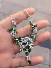 Natural green diopside Necklace Natural Gemstone Pendant Necklace S925 sliver women Luxury Flowers Leaves party fine Jewelry