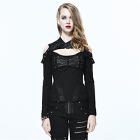 Steampunk High Collar Women Shirts Spring Long Sleeve Black Cotton T Shirts Backless Hollow Bandage Sexy T Tops