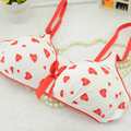 Cute Girls 4 CLRS Available Rims Candy Color Pure Cotton Bra Thin Breathable Heart-shaped Bras Soutien Gorge Brassiere Bralette