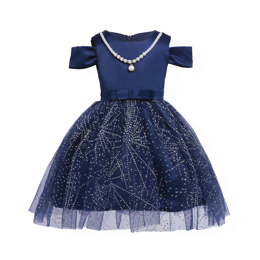 Fashion Girls party dress for 3-10 Years Navy blue Bow Flash Princess costume for evening clothes New kids flower clothing 42W15