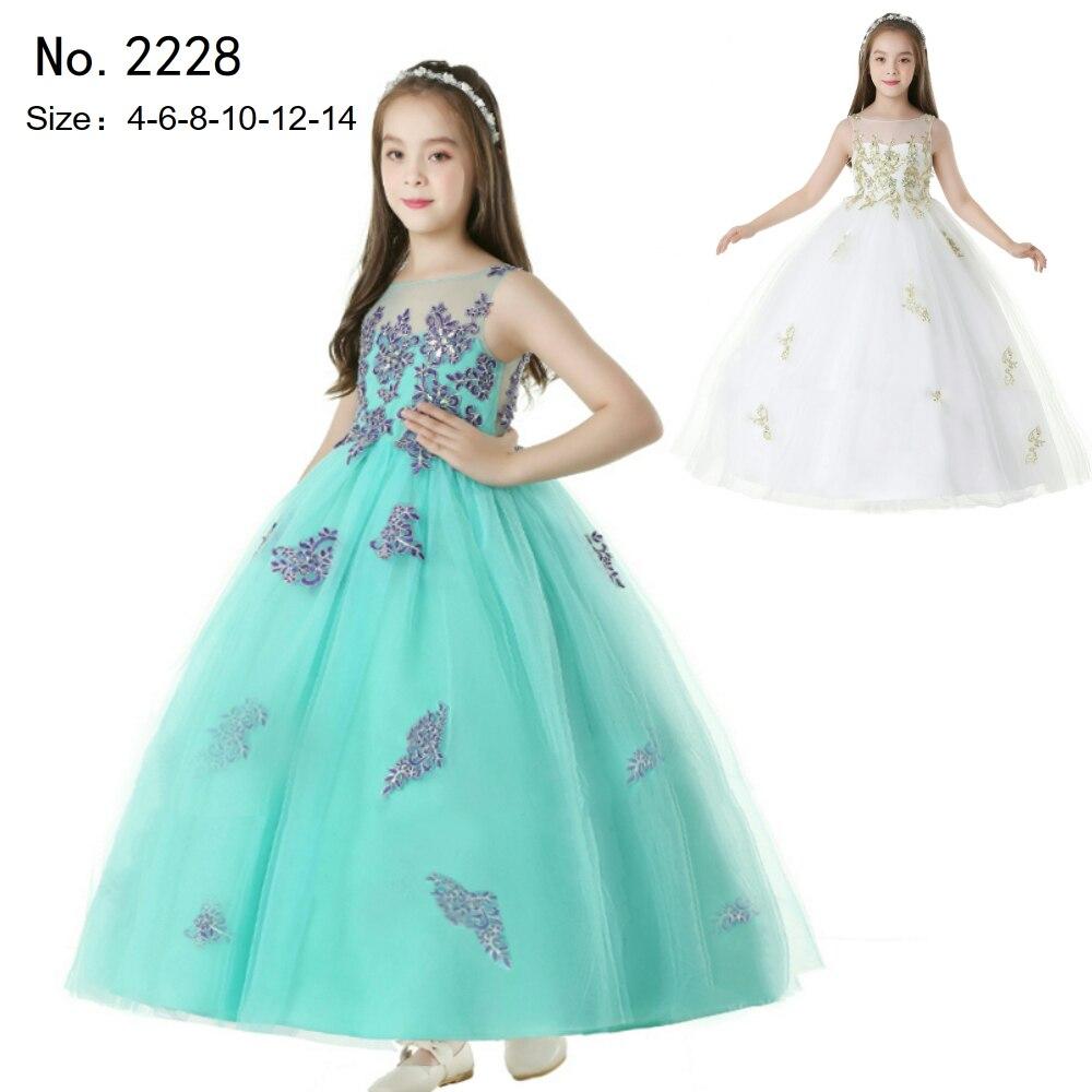 Livraison gratuite enfant fête robe 2019 nouveauté vert fille robes pour 14 ans dentelle Appliques enfants robes de soirée longueur cheville