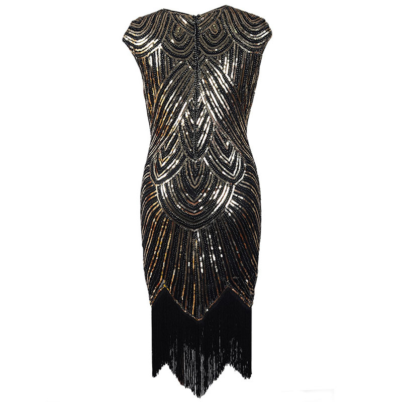 3959e97e5 Mulheres Vestido de Festa da Luva do Tampão Midi Retro Borla Franjas Grande  Gatsby Flapper 1920 s Diamante Lantejoulas Embelezado Vestido