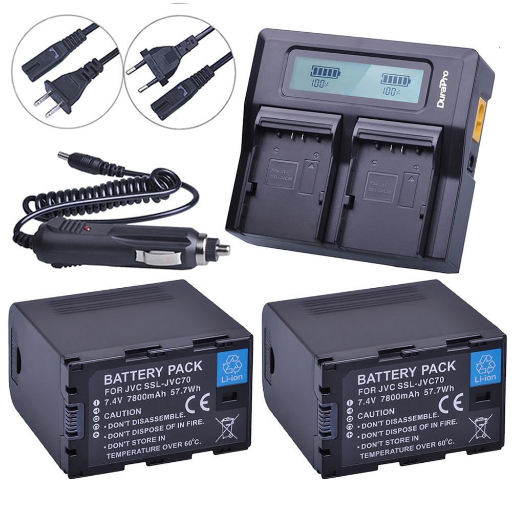2pc 7800mAh SSL-JVC70 SSL JVC70 Li-ion Batteries with USB Output for for JVC GY-HM600 GY-HM650 GY-HMQ10 GY-HM200 GY-LS300 Camera чехлы накладки для телефонов кпк gy