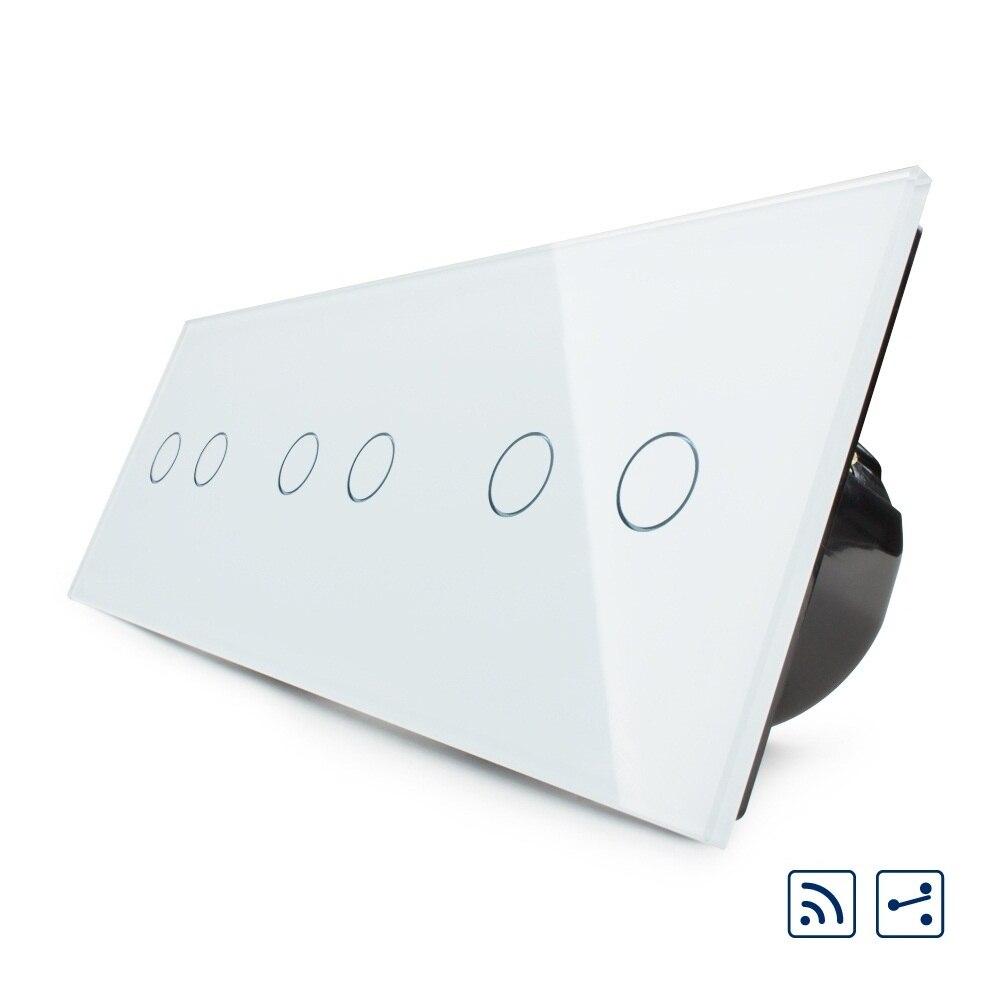 Livolo UE Standard, Tactile Interrupteur, Combinaison De Luxe Mur Triple Interrupteur À Distance, C706SR-11, 6 Gang 6Way Avec Panneau Verre Cristal