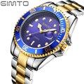 Gimto mens relógios top marca de luxo relógio dos homens de negócios de quartzo relógios de pulso para Homens Big Dial Masculino Relógio de Aço Data Montre Homme