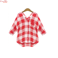 cotton batwing sleeve sexy v-neck casual tweed t shirt plaid women tops summer 2016