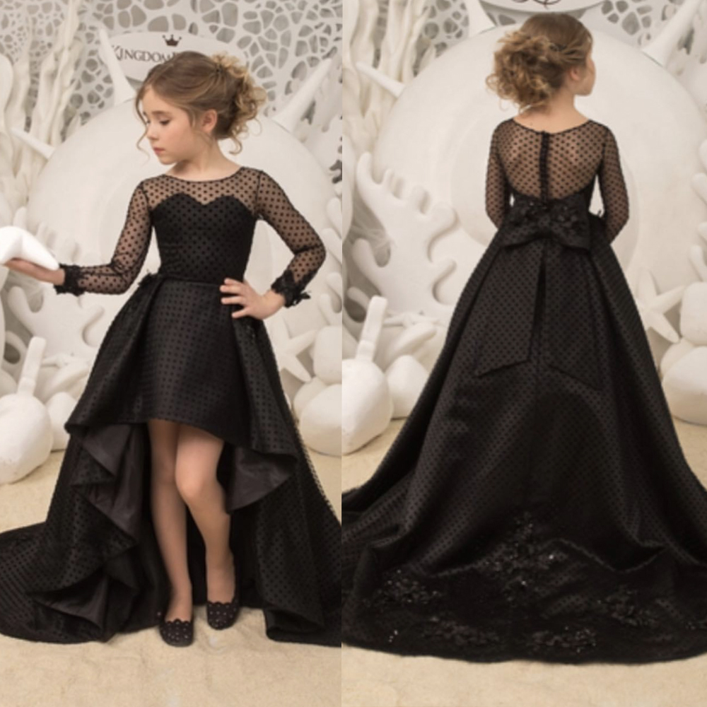 black little girls party dresses long sleeve crew neckline high front and low back girls pageant dresses 2019